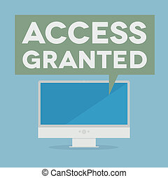 access granted - minimalistic illustration of a monitor with...