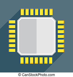 cpu flat - minimalistic illustration of a cpu, eps10 vector