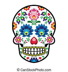 Mexican sugar skull - Polish folk - Dia de los Muertos icon...