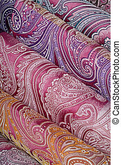 Rainbow of silk - Ornamental silk fabric in different color...