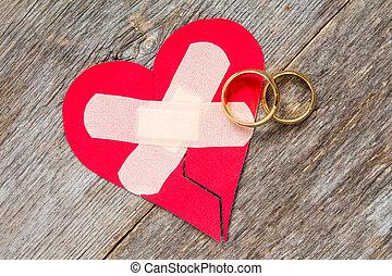 boda, anillos, roto, corazón