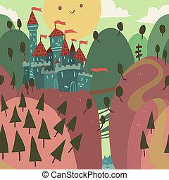 Cartoon Castle on a Hill.