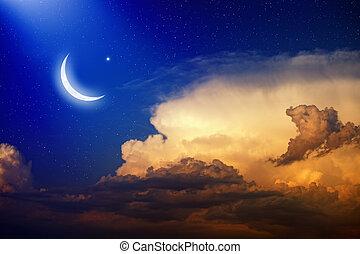Eid Mubarak background with shiny moon and stars, holy...