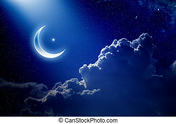 Eid Mubarak background with moon and stars, holy month,...