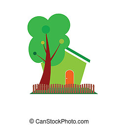 green house and tree symbol for nature