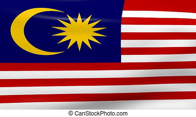 Waving Malaysia Flag, ready for seamless loop.