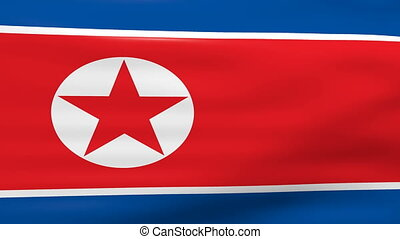 Waving North Korea Flag, ready for seamless loop.