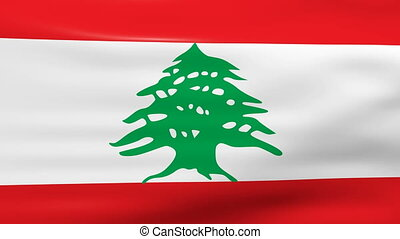 Waving Lebanon Flag, ready for seamless loop