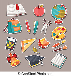 School and education icons, symbols, objects set.