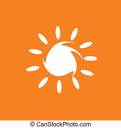 sun illustration in white color vector