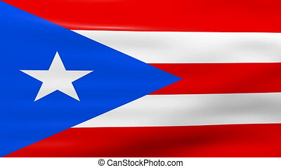 Waving Puerto Rico Flag, ready for seamless loop