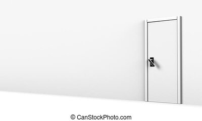 Door In White Room With Text Space - Side View Of Door In...