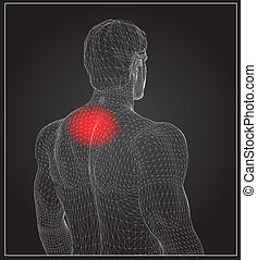 wireframe body with pain concept - Concept or conceptual 3D...