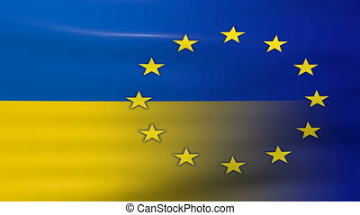Waving Ukraine and EU Flag, ready for seamless loop.
