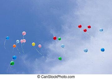 voando, balões, céu