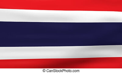 Waving Thailand Flag, ready for seamless loop.