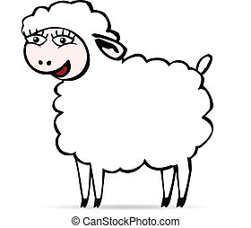 Smiling sheep - There is a white smiling sheep with big eyes...