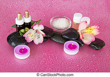 Aromatic oil, candles and stones - Oil, salt, candles,...