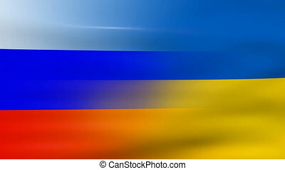 Waving Ukraine and Russia Flag