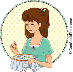 embroidering girl - girl doing hand embroidery