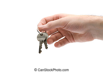 Key to housing - Hand give key to housing (white background)