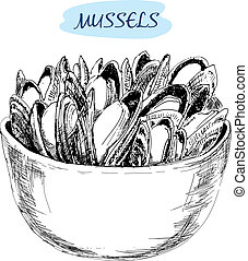 Mussels Set of hand drawn graphic illustrations