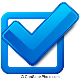Blue check box and check mark. Vector illustration