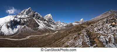 Himalayas panorama with Cholatse and Taboche peaks -...
