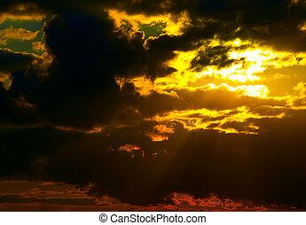 sol, atrás de, tempestade-nuvem