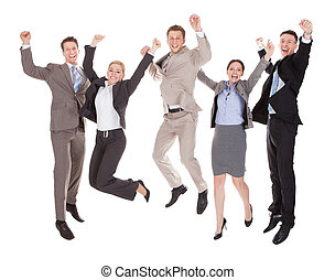 Excited Business People Jumping Over White Background - Full...