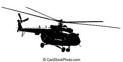 Silhouette helicopter on a light background