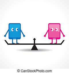 Comparison of two tablet stock vector