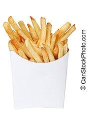 francés, fríe, blanco, caja