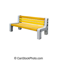 yellow park bench . Isolated over white background
