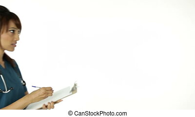 Indian Doctor isolated on a white background - 30 years old...