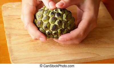 Part a Sugar Apple. Sweet Custard Apple of Thailand. Fresh...
