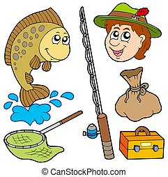 Cartoon fisherman collection - isolated illustration