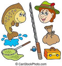 dessin animé, pêcheur, collection