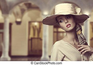 aristocrático, sombrero, niña