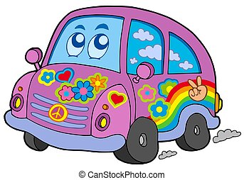 Hippie car on white background - isolated illustration.