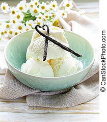 homemade creamy vanilla ice cream with natural vanilla...