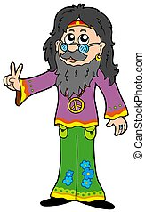 Hippie guru on white background - isolated illustration