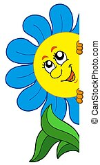 Lurking cartoon flower - isolated illustration.
