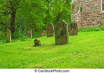 Graveyard peaceful resting Place - Gravestones in Peaceful...