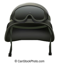 Military green helmet and goggles. Isolated on white background. Bitmap copy.