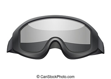 Military black goggles. Isolated on white background. Bitmap copy.