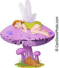 Sleeping elf - Little cute fairy elf sleeping on mushroom