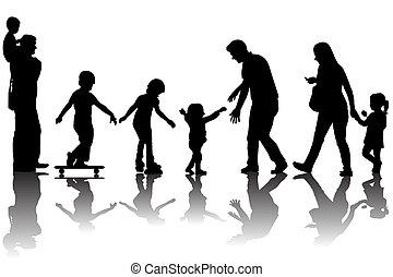 pais, silhuetas, crianças, parque