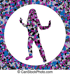 Girl silhouette made of bubbles