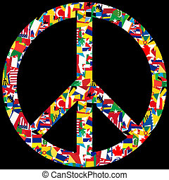 Peace symbol with world flags